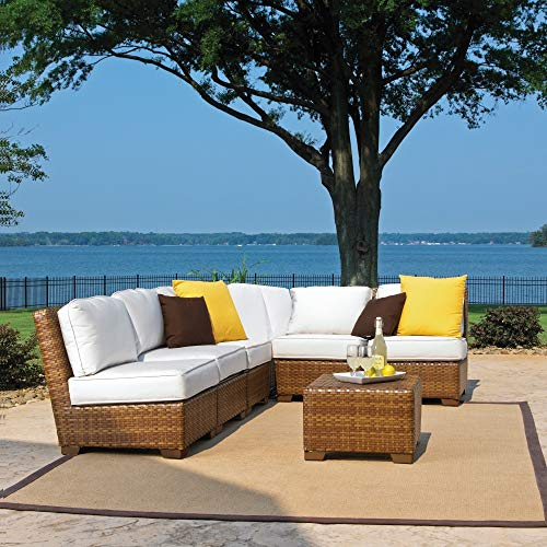 Panama Jack Outdoor 7-Piece St Barths Corner Modular Sectional with Cushions Set, Includes 5 Armless Chairs, 1 Corner Chair and 1 Coffee Table with Umbrella Hole from Panama Jack Outdoor