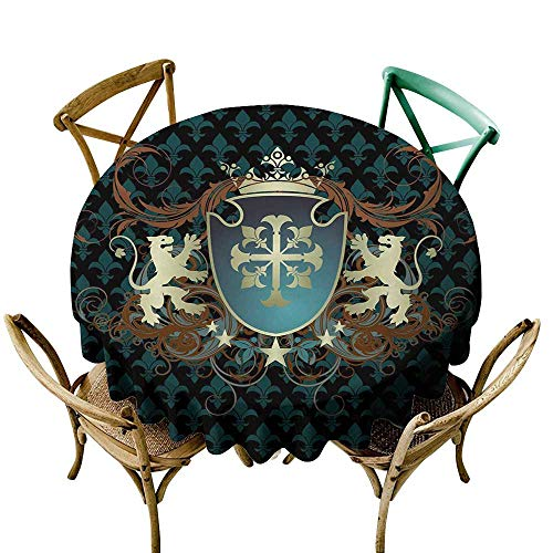 Wendell Joshua Camping Tablecloth 70 inch Medieval,Heraldic Design