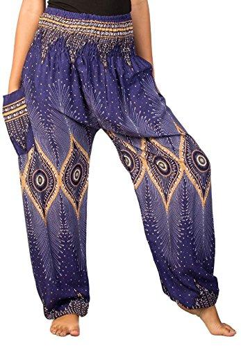 Lofbaz Women's Diamond Yoga Aladdin Genie Bohemian Harem Pants Blue M - Pattern Diamond 26in