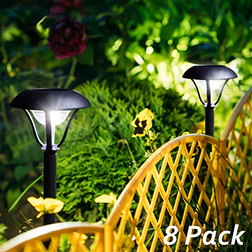 OxyLED Solar Path Lights Outdoor, 8 Pack Garden Stake Light Solar Powered Waterproof, Decorative Landscape Lighting with Auto On/Off Dusk to Dawn for Pathway, Lawn, Patio, Yard, Walkway (Outside Decorative Lighting)