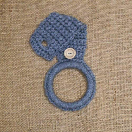 Grey Crochet Hanging Dish Towel Holder, Kitchen Decor