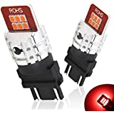 AUXITO Brilliant Red 3156 3157 3157K 3057 4057 4157 LED Bulbs with Super High Bright 2835 LED Chips Replace for Brake Light Tail Light (Pack of 2)