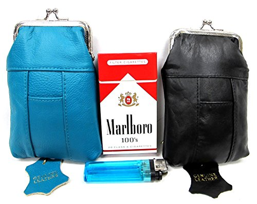 2pc SET Genuine Leather Cigarette Case Pouch TEAL GREEN + BLACK Fit 100s, King Regular Pack by Leather Cigarette Case