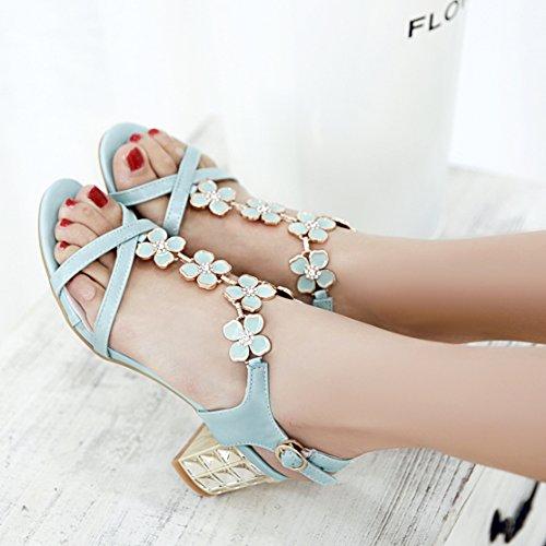AIYOUMEI Damen T-spangen Chunky Heel Knöchelriemchen Sandalen mit Blumen und 6cm Absatz Blockabsatz Sommer Schuhe Blau