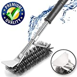 Grill Cleaning Brush - Best BBQ Scraper - 100% Stainless Steel Grill Cleaning Kit - Barbecue Cleaner Brush 3 in 1 - Great Grilling Accessories Gift - Safe For All Grills