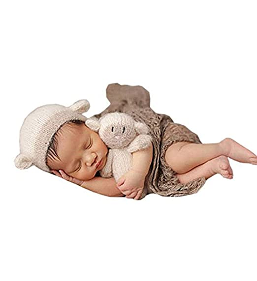 63c2568ef73 Image Unavailable. Image not available for. Color  Pinbo Newborn Baby  Photography Prop Lamb Hat Beanie with Lamb Dolls Accessories