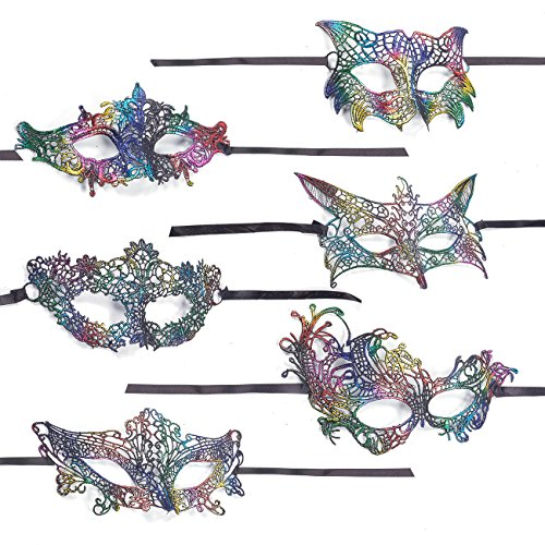 Masquerade Masks – 6-Pack Lace Party Masks, Venetian Ball Face Masks for Luxury Parties, Elegant Balls, Mardi Gras, 6 Assorted Designs, Rainbow Colors - 7.2 x 4.6 to 8.9 x (Medieval Times Invitations)