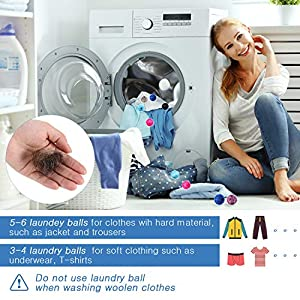 Pet Hair Remover for Laundry Lint Remover Washing Balls Reusable Dryer Balls Pet Hair Dryer Ball Lint Remover for Laundry, 6 Colors (24)