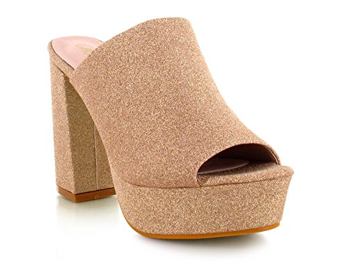 Chockers Shoes Womens Ladies Glitter Velvet Suede Slip On Slider Block Heel Platform Peep Toe Mule Sandal Rose Gold Glitter HYLpExi9h