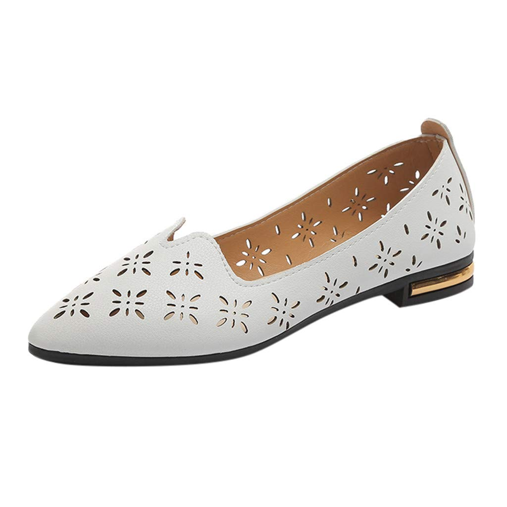 KESEELY Women's Elegant Pointed Toe Single Shoes Ladies Fashion Casual Shallow Work Shoes Breathable Hollow Flat Shoes White