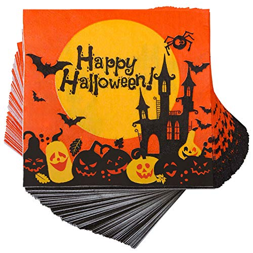 Elcoho 150 Pieces Halloween Disposable Beverage Paper Napkins Frightfully Fancy Cocktail Napkins with 2 Layers, 5 by 5 inches (set A) (Napkins Beverage Halloween)