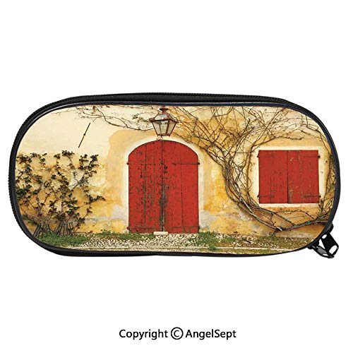 1916D Printing Pattern Pencil CaseDoorway with Blinded Door and Window to The Rural Tuscan House Italy Europe for Children Teenager Pen Box Pencil Pouch Desk for Boys and GirlsBeige Yellow Red
