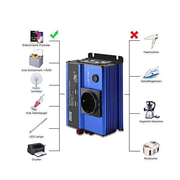 51nUUZbNfSL LOFTer 300W Auto Wechselrichter LED Anzeige KFZ Spannungswandler DC 12V auf AC 230V Power Inverter mit 2 USB Anschlüsse…