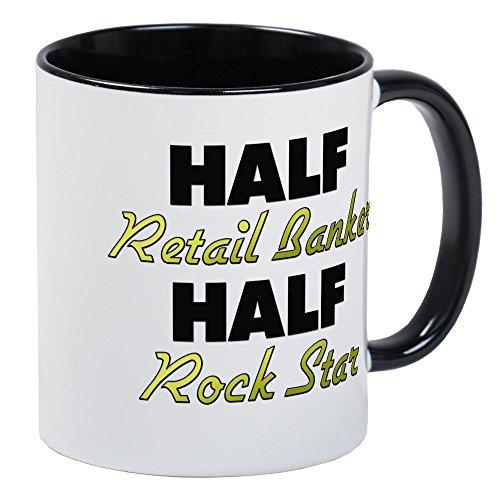 CafePress Half Retail Banker Half Rock Star Mugs Unique Coffee Mug, Coffee Cup ()