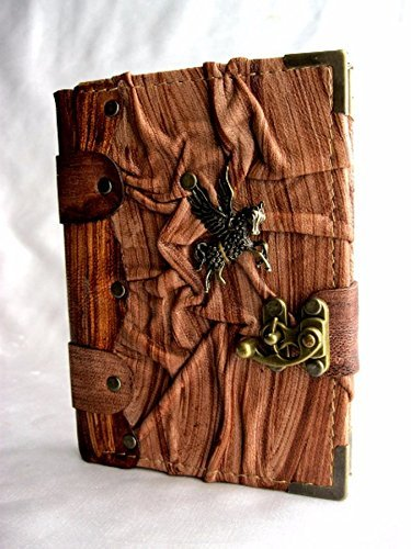 Handmade Small leather journal notebook sketchbook with Flying Horse emblem,leather journal,leather notebook,sketchbook,diary,leather bound
