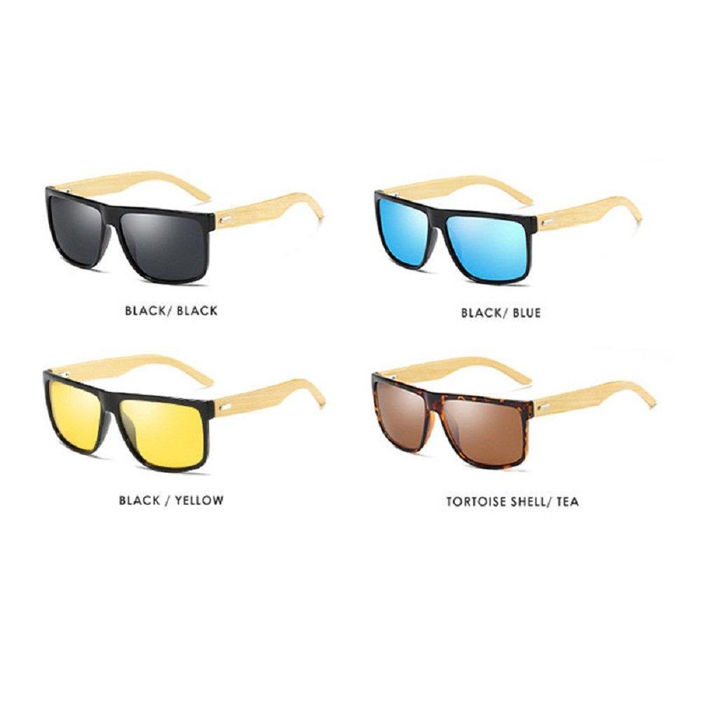59d41f37e16 Amazon.com  Fashion Wood Sunglasses Mens HD Polarized Glasses Womens Light  Bamboo Leg Eyewear UV400 (Black Black)  Clothing