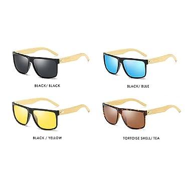 ff3cb845418 Fashion Wood Sunglasses Mens HD Polarized Glasses Womens Light Bamboo Leg Eyewear  UV400 (Black Black