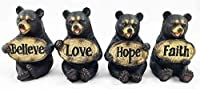 Set of Four Bears Whimsical Cute Black Bear Holding Love Believe Faith and Hope Sign Plaque Small Figurines Western Decor Rustic Nature Lovers Gift