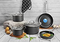 COOKSMARK 8PCS Durable Hard-Anodized Aluminum Nonstick Cookware Set, Scratch Resistant Pots and Pans Set with Glass Lids, Gray