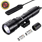 Tactical Flashlight, Professional Gun Flashlight Cree XPL 1000 Lumens Weapon Light with Remote Pressure Switch and High/Low/Strobe with CR123A Battery for Hunting Adventure Etc.