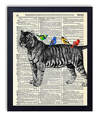 Tiger With Birds Vintage Wall Art Upcycled Dictionary Art Print Poster 8x10 inches, Unframed