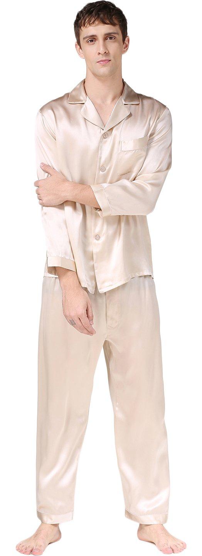 Luxury Silk Pajamas Sets Long Sleeve Beautiful Gifts for Husband Beige M