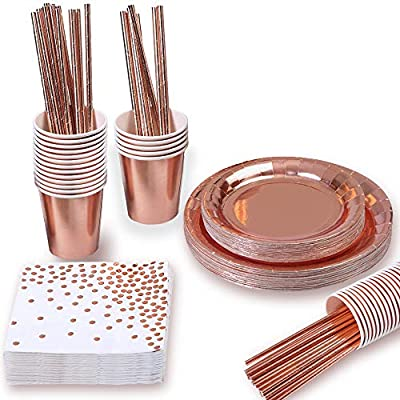 Rose Gold Party Supplies (Rose Gold Party Supplies (16 Serves)): Health & Personal Care