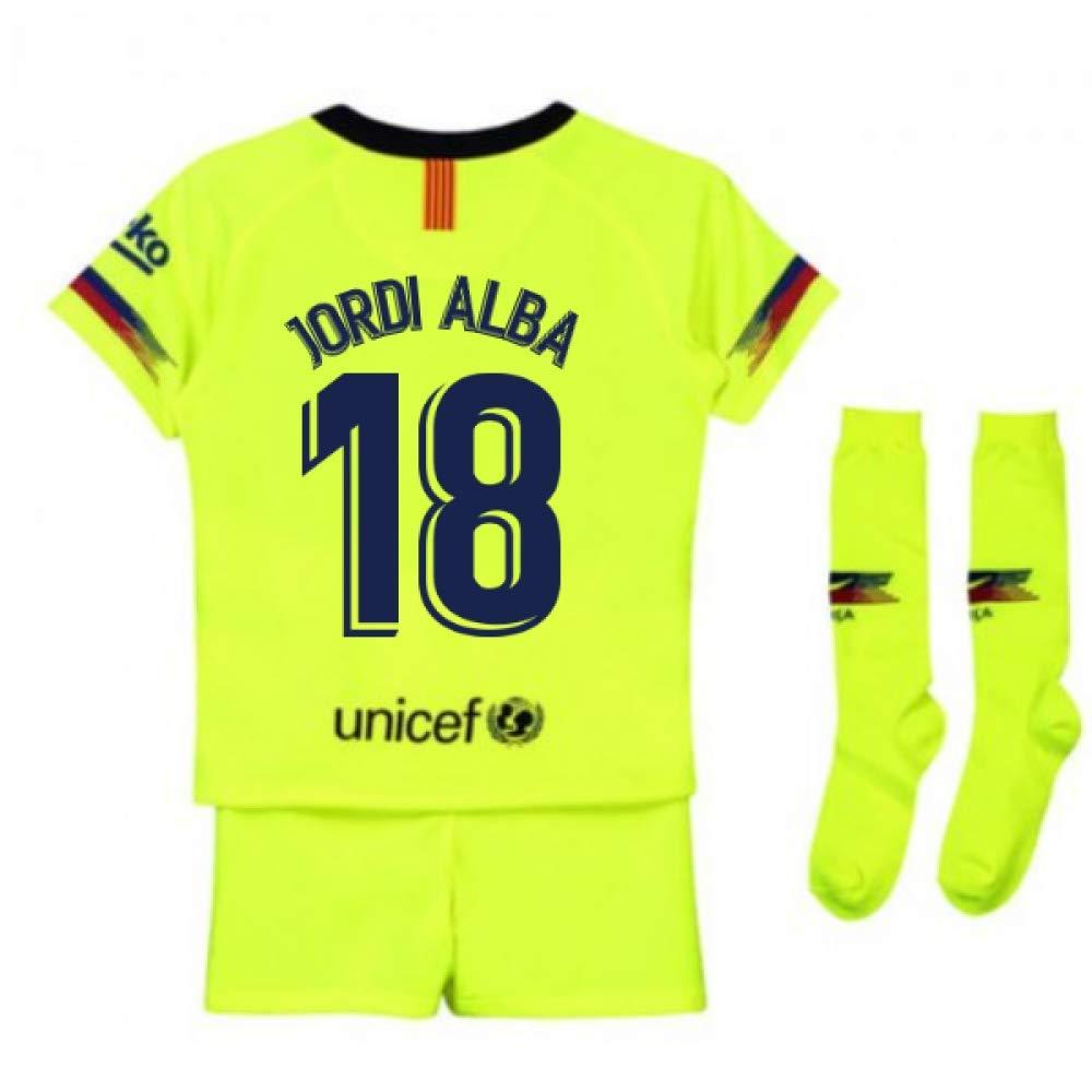 UKSoccershop 2018-2019 Barcelona Away Nike Little Boys Mini Kit (Jordi Alba 18)
