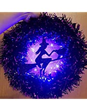 Light Up Halloween Wreath for Front Door - Witch/Skull/Bat/Pot Wreath with Light, Battery Powered, Horror Party Garland, Scary Halloween Decor for Indoor/Outdoor