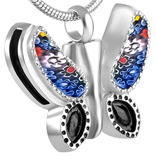 (Murano Glass Butterfly Cremation Ashes Necklace Loss Of Pet Urn Pendants + Box+Chain+Fill Kits)