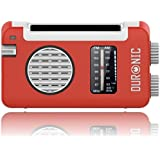 Duronic Hybrid Radio Wind Up Solar and Rechargeable AM/FM Radio with USB Charger Cable