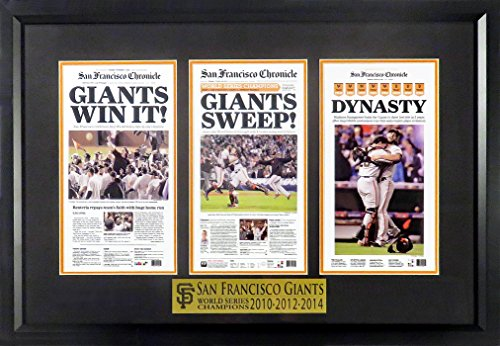 SF Giants 2010-2012-2014 World Series Champions Mini-Newspaper Display Framed (San Francisco Giants Win World Series 2012)