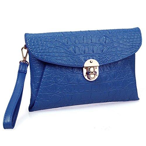 Womens Crocodile Leather Envelope Handbag
