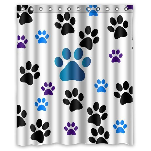Amazon Family Decor Dog Paw Prints Waterproof Fabric Polyester Bathroom Shower Curtain With 12 Hooks 72w X 72h Home Kitchen