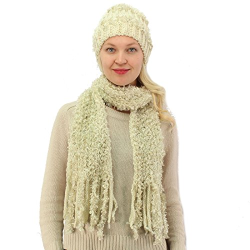 Winter Ladies 2pc Chenille Mix Warm Knit Beanie Ski Hat Cap Scarf Gift Set Ivory (Chenille Scarf White)