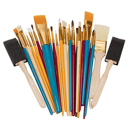 OODLES OF Paint Brushes Kid's Art, Paint, Craft & Multiple Medium Beginer Artist Paint Brushes [Set of 25 Assorted Sizes/ Shapes] Perfect For Watercolor, Oil, Acrylic & Tempra Paints and More