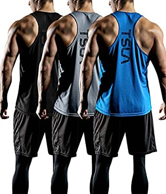 Tesla Men's 3 Pack Workout Muscle Tank Sleeveless Y-Back Gym Training Cool Dry Top MTN33-KBG