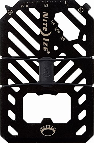 Nite Ize Financial Tool Money Clip Wallet, Minimalist Wallet, Money Clip and Credit Card Holder Combo, With 7-In-1 Multi Tool in Stainless Steel, Black
