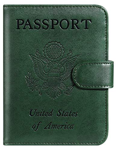 Passport Holder Cover Wallet RFID Blocking Leather Card Case Travel Accessories for Women Men (Atrovirens)