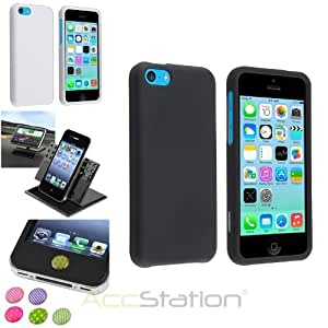 XMAS SALE!!! Hot new 2014 model Rubber Hard Plastic Case+Dash Holder+Home Button Sticker For iPhone 5CCHOOSE COLOR