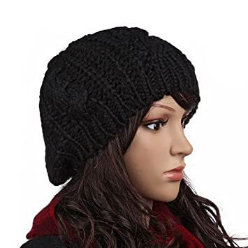 cfbf752400c Image Unavailable. Image not available for. Color  Women Beret Braided  Baggy Beanie Crochet Knitting Warm Winter Wool Hat Ski Cap