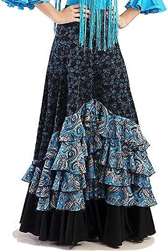 Falda de Mujer para la Danza Flamenco o sevillanas (Azul, M ...