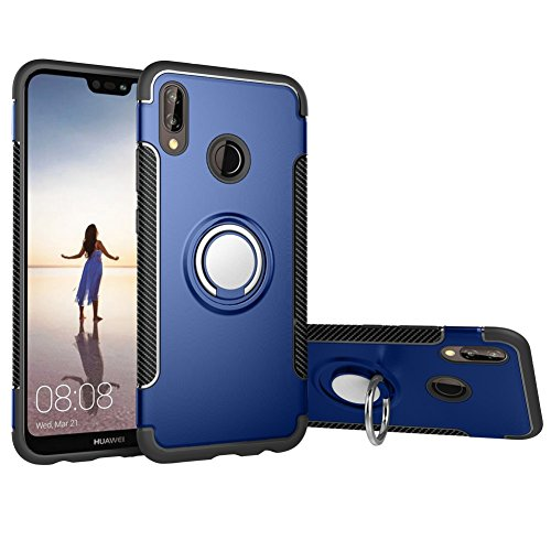 Case Compatible with Huawei P20 Lite DWaybox Hybrid Back Case Cover with 360 Degree Rotation Ring Holder for Huawei P20 Lite/Nova 3E 5.84 Inch Compatible with Magnetic Car Mount Holder (Dark Blue)