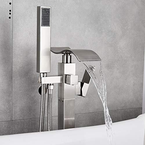 - Votamuta NEW Bathroom Waterfall Spout Tub Filler Shower Faucet Floor Mount Brushed Nickel Single Handle Bathtub Shower Tap