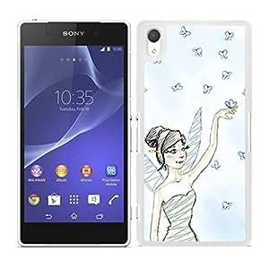 Funda carcasa para Sony Xperia M4 Aqua diseño hada con mariposas borde blanco