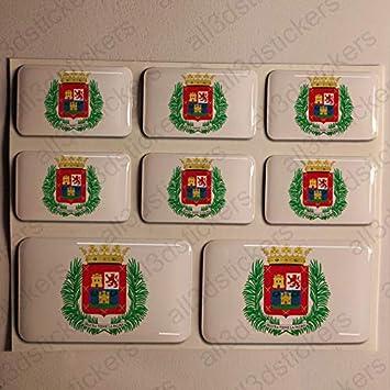 Pegatinas Las Palmas de Gran Canaria España Resina, 8 x Pegatinas Relieve 3D Bandera Las Palmas de Gran Canaria España Adhesivo Vinilo: Amazon.es: Coche y moto