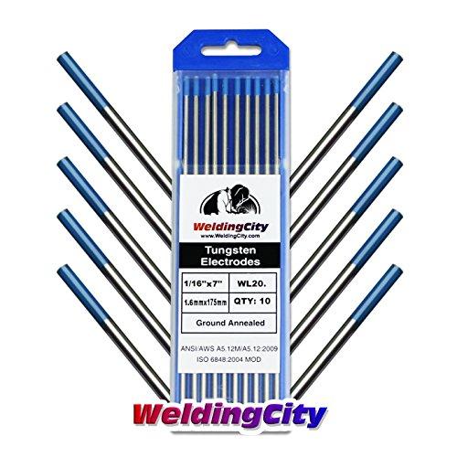 (WeldingCity 10-pk Premium TIG Welding Tungsten Electrode Rod 2.0% Lanthanated (Blue, EWLa20) 1/16