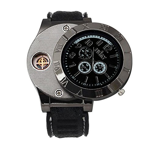 Expedition Watch Field Military (Lookatool Windproof Casual Military Quartz Watch USB Cigarette Cigar Flameless Lighter)
