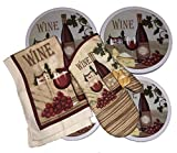 New Electric Stove Burner Cover, Oven Mitt, Kitchen Towel, Wine Theme Set