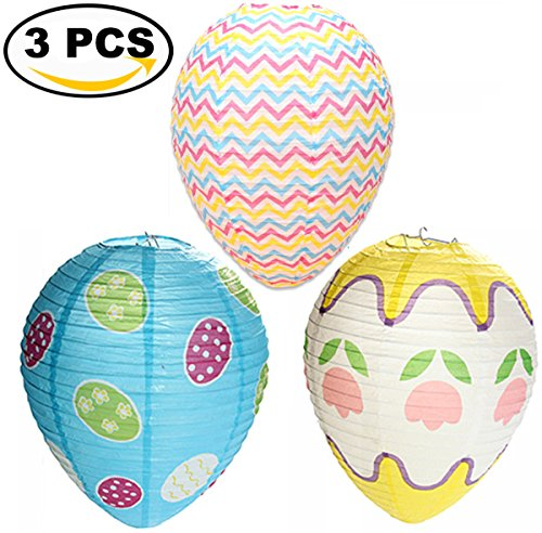 Coxeer Easter Egg Lanterns, 3PCS Easter Lantern Easter Decorations Foldable Egg Shaped Paper Lanterns Easter Hanging Decor (Multicolor) Easter Hanging Decor